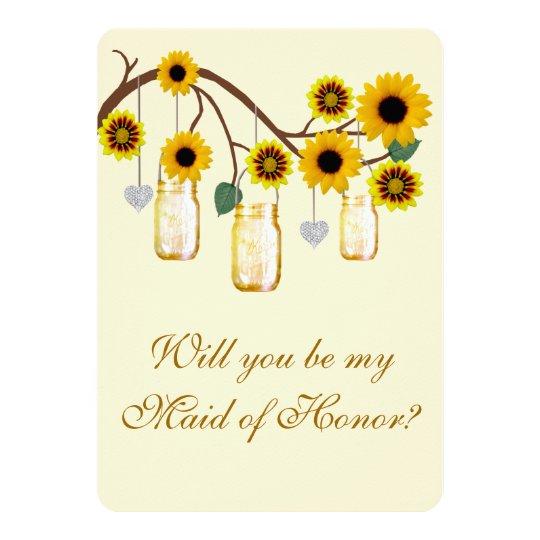 """El amarillo florece a la criada de tarros de invitación 5"""" x 7"""""""