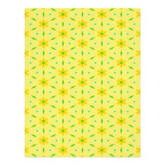 El amarillo florece el papel del libro de membrete a diseño