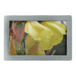 El amarillo florece el primer con las gotitas de hebillas de cinturon rectangulares