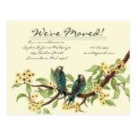 ¡El amarillo florece pájaros del vintage del Postal
