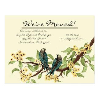 ¡El amarillo florece pájaros del vintage del trull Postal