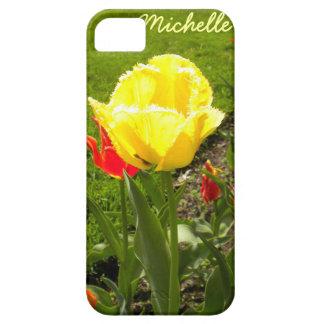 El amarillo franjó la caja del iPhone 5 del Funda Para iPhone 5 Barely There