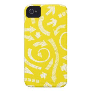 El amarillo garabateó a flechas Blackberry el caso iPhone 4 Case-Mate Carcasas