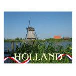 El amarillo holandés del molino de viento florece  tarjeta postal