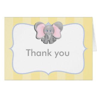 El amarillo lindo del elefante del bebé le tarjeta pequeña