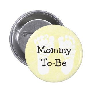 El amarillo Mamá-A-Es botón de la fiesta de Pin Redondo De 2 Pulgadas