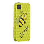 El amarillo manosea la caja personalizada abeja de vibe iPhone 4 carcasa