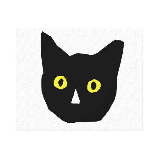 el amarillo negro principal del gato observa el di lona envuelta para galerias