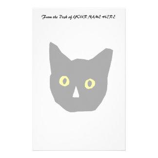 el amarillo negro principal del gato observa el di personalized stationery