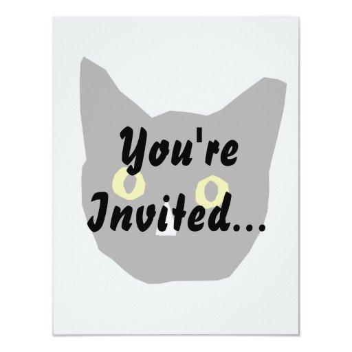 """el amarillo negro principal del gato observa el invitación 4.25"""" x 5.5"""""""