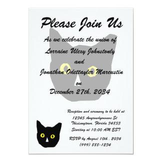 """el amarillo negro principal del gato observa el invitación 5"""" x 7"""""""