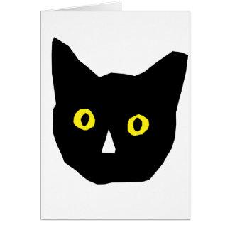el amarillo negro principal del gato observa el tarjeta pequeña