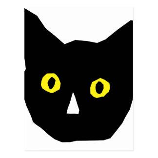 el amarillo negro principal del gato observa el tarjeta postal