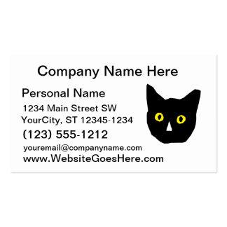 el amarillo negro principal del gato observa el tarjetas de visita
