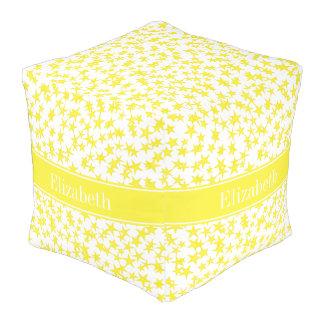 El amarillo protagoniza a BG blanca, monograma Puff Cuadrado
