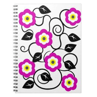 El amarillo púrpura del diseñador fresco florece spiral notebook