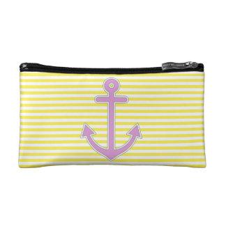 El amarillo raya el ancla púrpura náutica