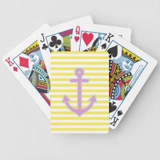 El amarillo raya el ancla púrpura náutica barajas