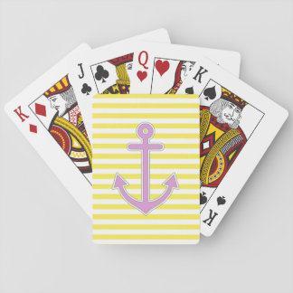 El amarillo raya el ancla púrpura náutica naipes