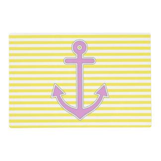 El amarillo raya el ancla púrpura náutica tapete individual