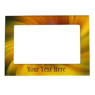 El amarillo remolina marco magnético del arte abst marcos magneticos para fotos