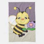 El amarillo retro manosea la abeja toallas de mano