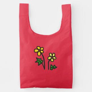 El amarillo suave florece el bolso reutilizable bolsa reutilizable