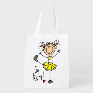 El amarillo va animadora del equipo bolsa para la compra