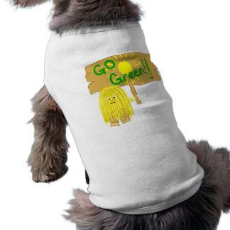 El amarillo va verde playera sin mangas para perro