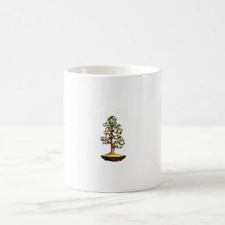 El amarillo vertical de los bonsais florece diseño taza básica blanca