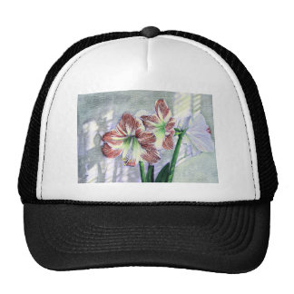 El Amaryllis florece arte original de ELD Gorro