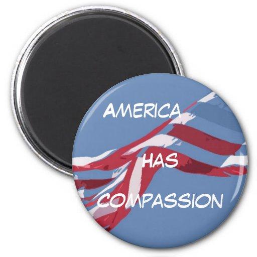 el americanflagcutout, América, tiene, compasión Imán Redondo 5 Cm