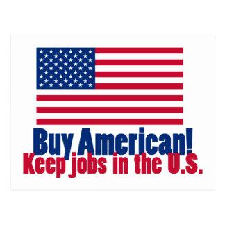 El americano de la compra mantiene trabajos los postales