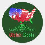 El americano Galés arraiga a los pegatinas Etiquetas Redondas
