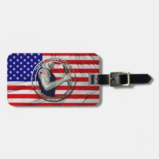 El americano hizo fuerte americano etiquetas para maletas