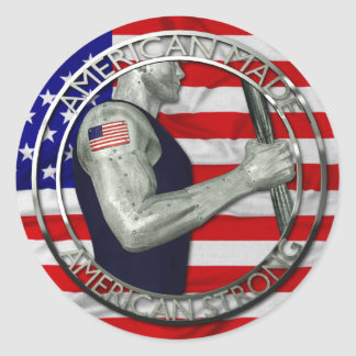 El americano hizo fuerte americano pegatinas redondas