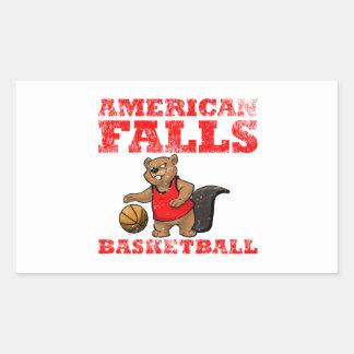 El americano se cae baloncesto de los castores pegatina rectangular