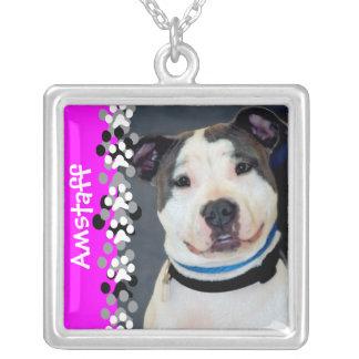 El americano Staffordshire Terrier-Es foto del per Colgante Cuadrado