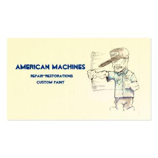 El americano trabaja a máquina tarjetas de visita
