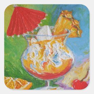 El AMI Tai y bebida mezclada de la piña Calcomanía Cuadradase