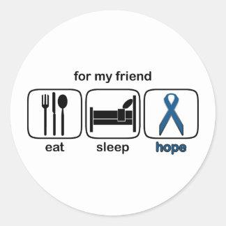 El amigo come la esperanza del sueño - cáncer de pegatina redonda