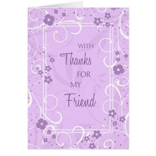 El amigo de los remolinos de la lavanda le agradec tarjeta