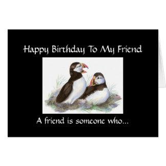 El amigo del cumpleaños de la diversión escucha mi tarjeton