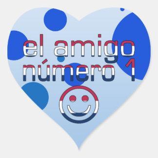 El Amigo Número 1 in American Flag Colors for Boys Heart Sticker