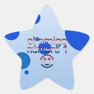 El Amigo Número 1 in American Flag Colors for Boys Star Sticker
