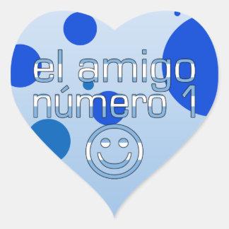 El Amigo Número 1 in Argentine Flag Colors for Boy Heart Sticker