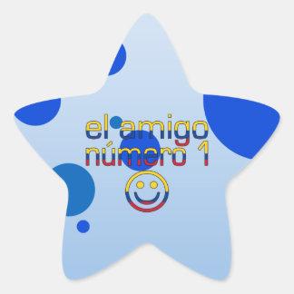 El Amigo Número 1 in Colombian Flag Colors 4 Boys Star Sticker