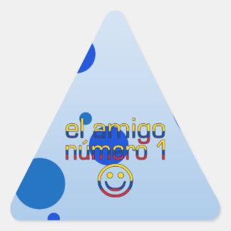 El Amigo Número 1 in Colombian Flag Colors 4 Boys Triangle Sticker