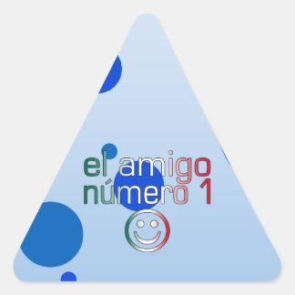 El Amigo Número 1 in Mexican Flag Colors for Boys Triangle Sticker