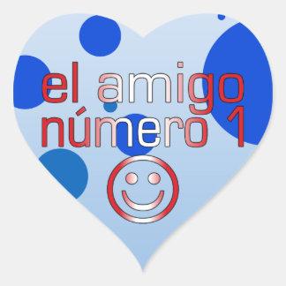 El Amigo Número 1 in Peruvian Flag Colors for Boys Heart Sticker